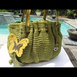 BRIGHTON BUTTERFLY Leather & Straw Shoulder Bag